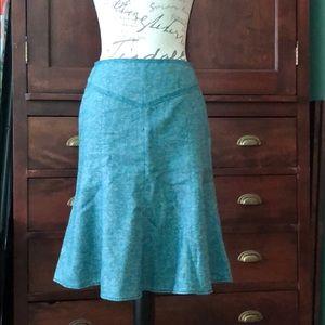 Wool silk blend trumpet skirt Ann Taylor loft 2